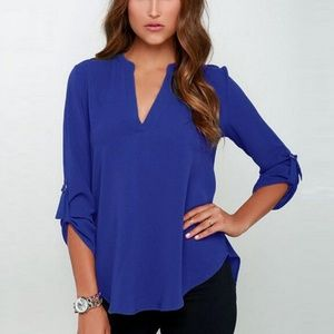 Tops - Sexy Women V-neck Solid Chiffon Blouse - Blue